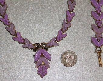 Vintage Lavender Grapes Leaves Demi Parure Necklace Bracelet