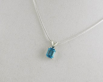 Swiss Blue Topaz - Gemstone Pendant - Necklace - Solitaire Pendant - Sterling Silver with 6mm x 8mm Swiss Blue Topaz