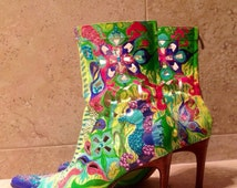hand painted shoes, custom painted boots, high heel boots