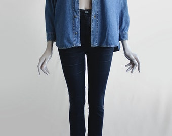 90s Sturdy Vintage Denim Deep Blue Relaxed Button-Up Jean Blouse