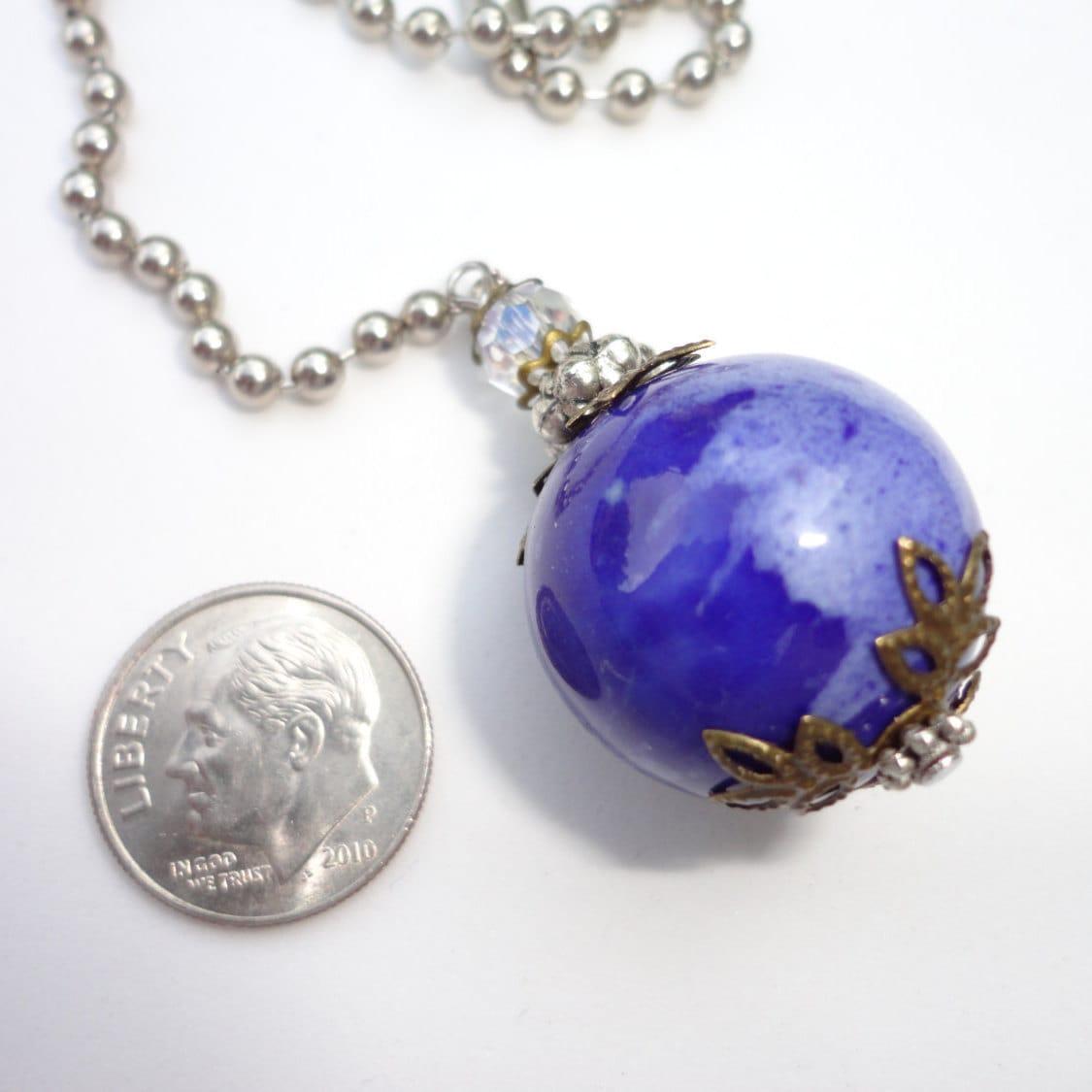Ceramic Bead Beads: Blue Ceramic Bead Ceiling Fan Pull Light Pull Blue Beaded