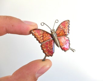 Vintage Butterfly enamelled and brass Brooch - 1960s made in Taiwan