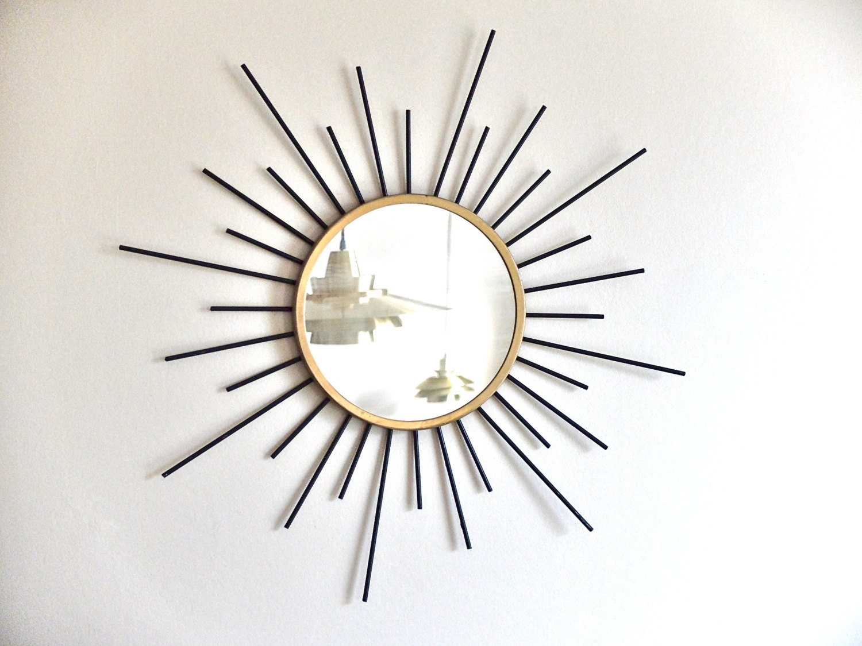 Ancien miroir soleil en m tal ann es 50 1950 vintage for Miroir annees 50