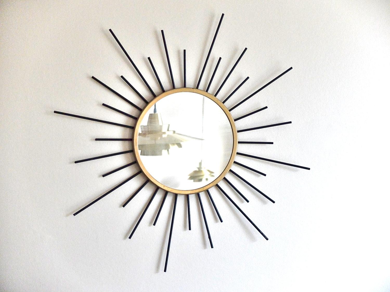 ancien miroir soleil en m tal ann es 50 1950 vintage. Black Bedroom Furniture Sets. Home Design Ideas