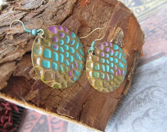 Large Coin Size Brass, Antiqued, Boho, Bohemian, Hippie Style Earrings