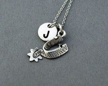 Cowboy Spur necklace, Western spur, Spur charm, riding boots spur, antique silver, initial necklace, personalized, monogram