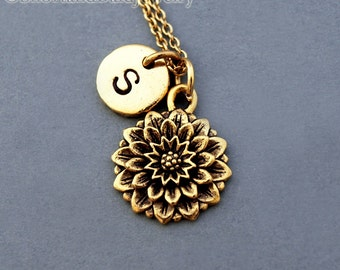 Chrysanthemum necklace, flower charm, Chrysanthemum flower, antique gold, initial necklace, hand stamped, personalized, monogram
