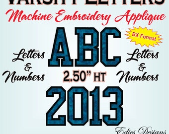 Varsity Letters AND Numbers Machine Embroidery Designs Monogram Fonts BX Format Digital Download