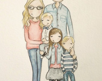 Custom / Personalized Portrait. Adorable Watercolor, Birthday, Anniversary, wedding, graduation or friend ( 5 people portrait )