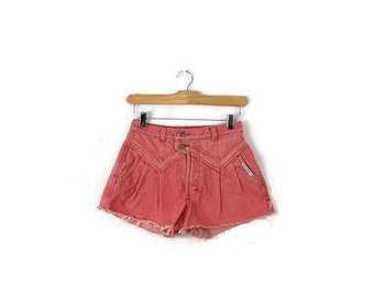 Free Shipping Vintage Pink High waist Denim Cut off Shorts from 1980's/W24-25*