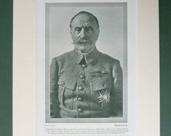 1919 Antique French Army Print, Ferdinand Foch, Available Framed, WWI Art, First World War Photography, France Military Wall Art, WW1 Gift