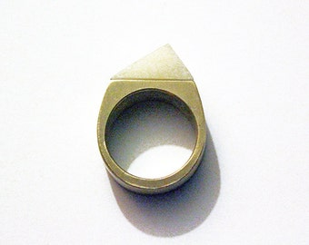 Minimalist tagua nut brass ring, tagua nut ring, triangle brass ring, geometric brass ring, vegetable ivory ring, mother's day gift for her