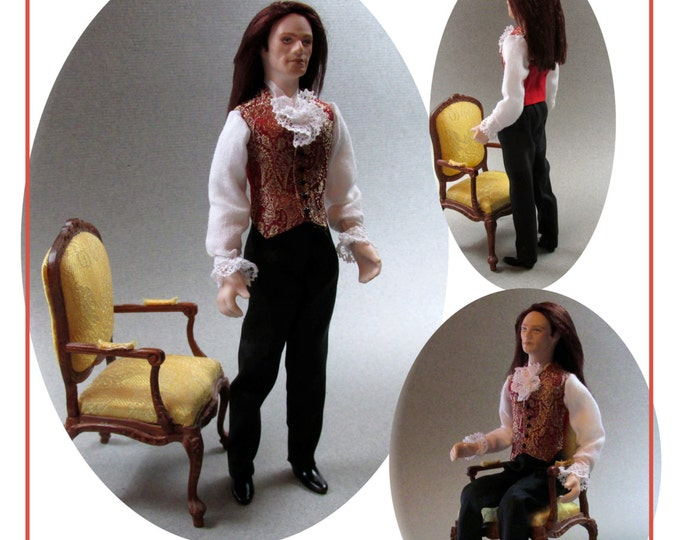 Dollhouse Doll ARMAND Man Doll DIY Pattern and Tutorial PDF Miniature Dollhouse 1:12 Scale Instant Download
