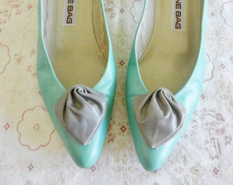 Vintage Grey Leather Rosette Shoe Clips