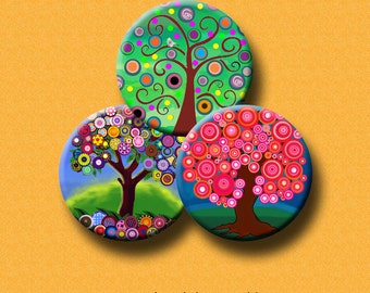 """FUNKY TREES II - 30 x 1"""", 1.5"""", 1.25"""", 30mm & 25mm round images pendants, bottle caps, round bezel trays. Instant Download #60."""