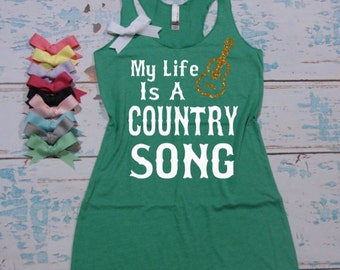 My Life Is A Country Song - flowy tri-blend racerback tank top. XS-XL. Country Shirt. Country shirt. Country tank top.