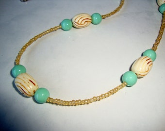 Turquoise and Beige Necklace, Handmade