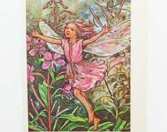 Rose-Bay Willow-Herb Fairy, Flower Fairies Picture, Cicely Mary Barker Print, Nursery Art, Fairy picture
