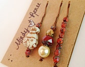 Owl Bobby pins. Beaded Red Hair pins. Woodland Accessory. Fall hair barrettes