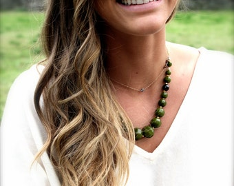 Chunky Jade & Gold Touch Necklace