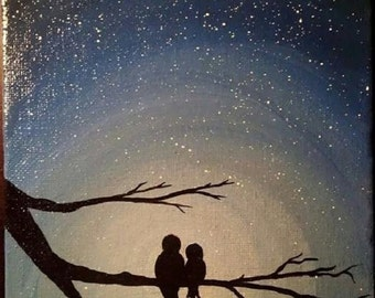 silhouette of lovebirds on a starry night hand painted acrylic