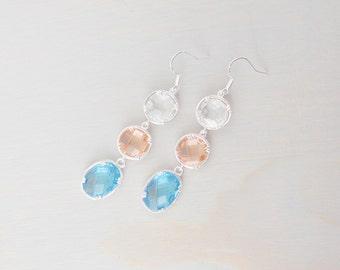 Coral and Aqua Earrings, Beach Wedding, Beach Wedding Jewelry, Bridal Jewelry