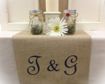 "Burlap Table Runner  12"", 14"" or 15"" wide 2 initial Monogram and an & sign on each end Wedding runner Bridal shower"