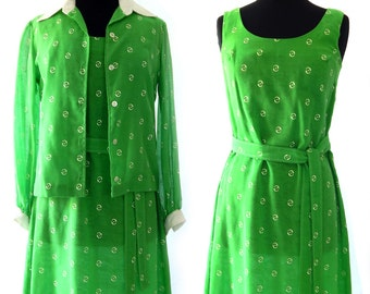 Vintage Green Summer Dress, 2-Piece Ensemble Avalon Classics 1960's, Green Shift Dress White Print, Summer Dress Cotton Blend