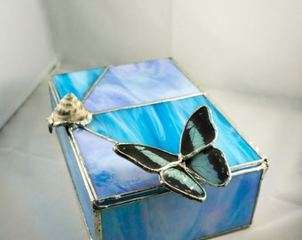 FREE SHIPPING  Real Butterfly and Shell Stained Glass Jewelry Trinket Box