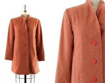 red wool coat • vintage striped coat • lightweight wool coat •S/M