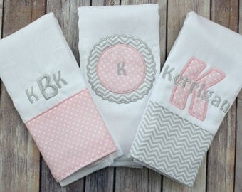 Monogrammed Burp Cloth Set for Baby Girl - Pink and Grey Personalized Baby Girl Burp Cloth Set - Custom Applique