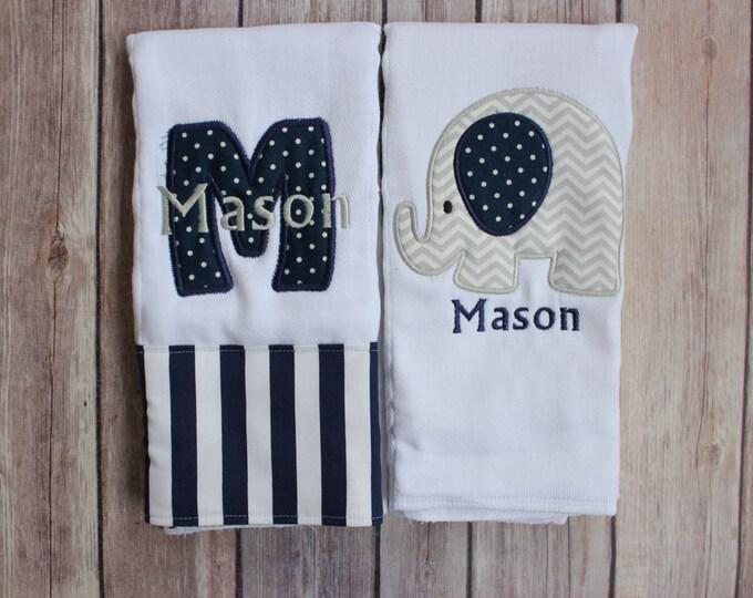 Set of Two Boy's Burp Cloths - Initial Applique and Elephant Burp Cloth Set - Boy's Burp Cloth Gift Set - Personalized Elephant Burp Cloth