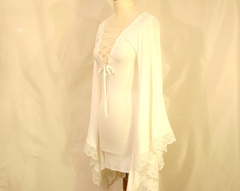Made to Order: Batwing Elven Fairy Pixie Hippie Viscose Jersey Tunic or Dress, Custom color and size