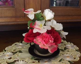 Pretty Pink Tea Cup Arrangement Centerpiece