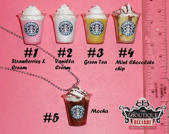 Starbucks Frappucino Drink Pendants for Necklaces PICK ONE- Strawberries, Vanilla, Green Tea, Mint Chocolate, Mocha