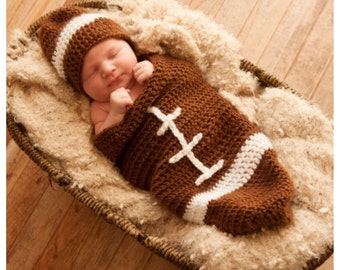 Football cocoon pattern/baby football hat pattern/crochet football cocoon/newborn football pattern/infant carrier pattern/baby sports cocoon