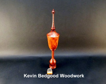 Box Lidded Container Loganberry wood with pedestal and finial turned, jewelry