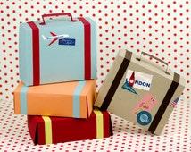 Suitcase Favor Box Kit - Set of 4, Favor Box, Airplane Party, Party Favor, Vintage Luggage, Destination Wedding, Train Party, Paper Suitcase