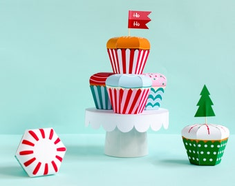 Christmas Cupcake Candy Box Kit, Cupcake Favor Box, Holiday Centerpiece, Christmas decor, Hostess Gift, Gift Box, Party Favor Box, Paper Toy
