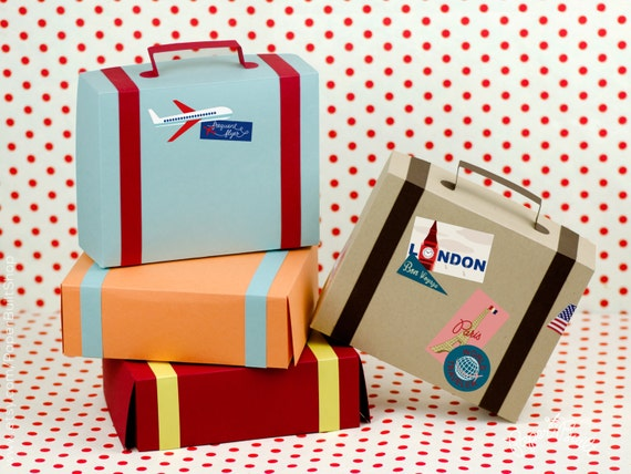 Suitcase Favor Box Kit - Set of 4 - Favor Box, Airplane Party, Party Favor, Vintage Wedding Favors, Destination, Train Party, Paper Suitcase
