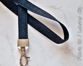 Lanyard 40 inch (Fabric 20) Lobster Swivel Clip or Plastic Badge Holder for ID Wallet, ID Badge Holder Grey Circle Black