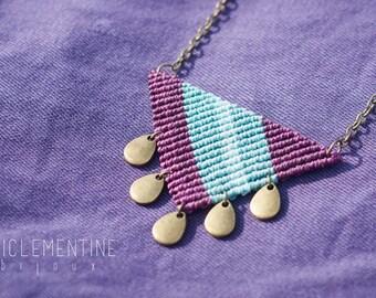 Triangle necklace, geometric necklace, purple pendant, purple necklace, triangle pendant, makrame necklace, triangle macrame pendant