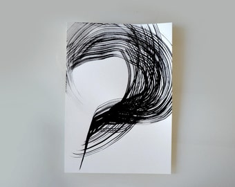 A3 Original abstract fine art drawing on paper -Wind,storm, forms, movement, crossing ways, black and white art by Cristina Ripper