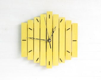 Yellow Clock, Wall Clock, Steampunk Clock, Wood Clock, Hanging Clock, Geometric Decor, Industrial Clock, Office Clock, Home Decor, Romb I
