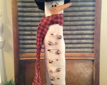 Primitive Tall Thin Winter Snowman with Rusty Bells and Safety Pins