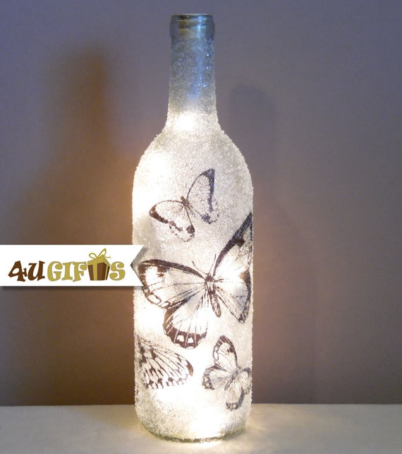 Lighted Wine Bottle Butterfly Design Butterflies Night