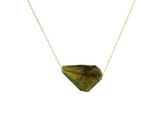 Vesuvianite necklace - crystal necklace - geometric - green gemstone necklace - a faceted green idocrase on a 14k gold vermeil chain