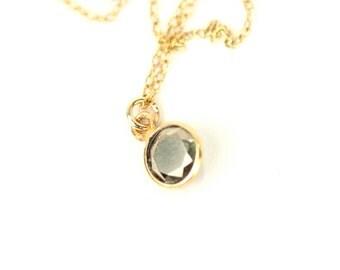 Pyrite necklace - dot necklace - tiny necklace - simple - everyday necklace - a tiny gold line pyrite gem on a 14k gold vermeil chain