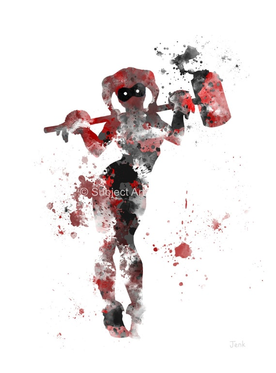 Harley Quinn ART PRINT illustration Superhero Super by SubjectArt - Buddha Inspired Home Decor
