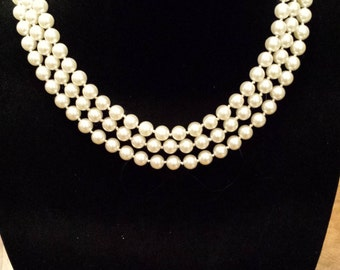 Triple Row Graduated Pearl Necklace